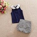 2016 nuevo estilo de ropa de bebé Para Niños Baby Girls ropa de verano conjunto 2 unids franja azul Pantalones conjuntos de ropa para niños