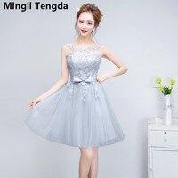 Bridesmaid Dresses Pretty Appliques Lace Flowers Wedding Party Dress Women Elegant O Neck Sleeveless Dress 2018 Mingli Tengda