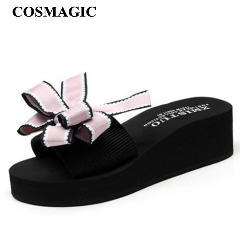 COSMAGIC 2019 Sweet Striped Bowknot Wedge Slippers  New Fashion Women Summer Beach Platform Handmade Med Heel Slide Shoe