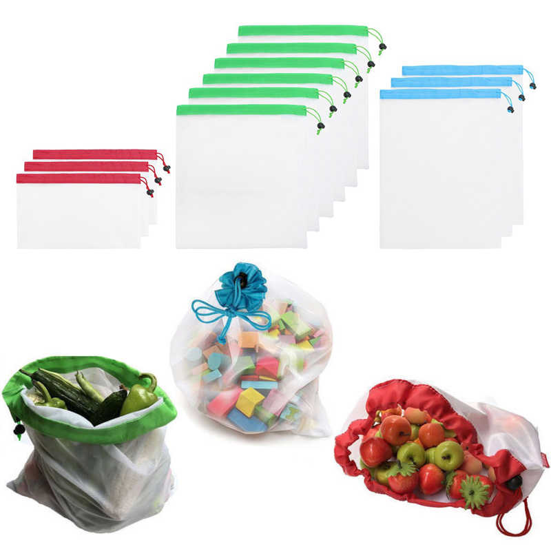 5Pcs/Set Polyester Storage Bags Eco-friendly Reusable Bag Recycle Fruit Vegetables Bags String Storage Grocery Bag Food 8A0712