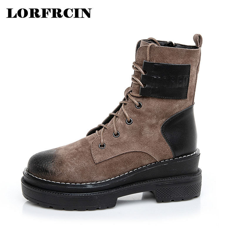 LORFRCIN Platform Heels Women Ankle Boots Genuine Leather High Heel Boots Winter Autumn Ankle Boots Fashion Motorcycle Boots xiangban handmade vintage motorcycle boots women high heels platform boots square heel genuine leather