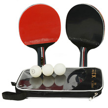 2pcs/lot Table Tennis Bat Racket Double Face Pimples In Long Short Handle Ping Pong Paddle  Set with Bag 3 Balls Rackets Rubber