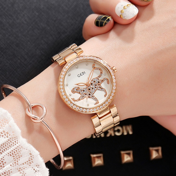 2018 New GEDI Fashion Leopard Women Watches Top Luxury Brand Ladies Quartz Watch Steel 2 Pieces Watches Relogio Feminino Hodinky misscycy lz the 2016 new fashion brand top quality rhinestone men s steel band watch quartz women dress watch relogio feminino
