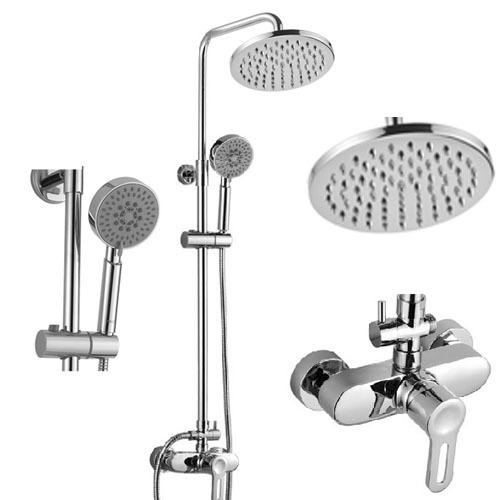 Mosazná dvojitá sprcha s vrchní kulatou hlavou s ramenem a ruční hlavicí na stěnu
