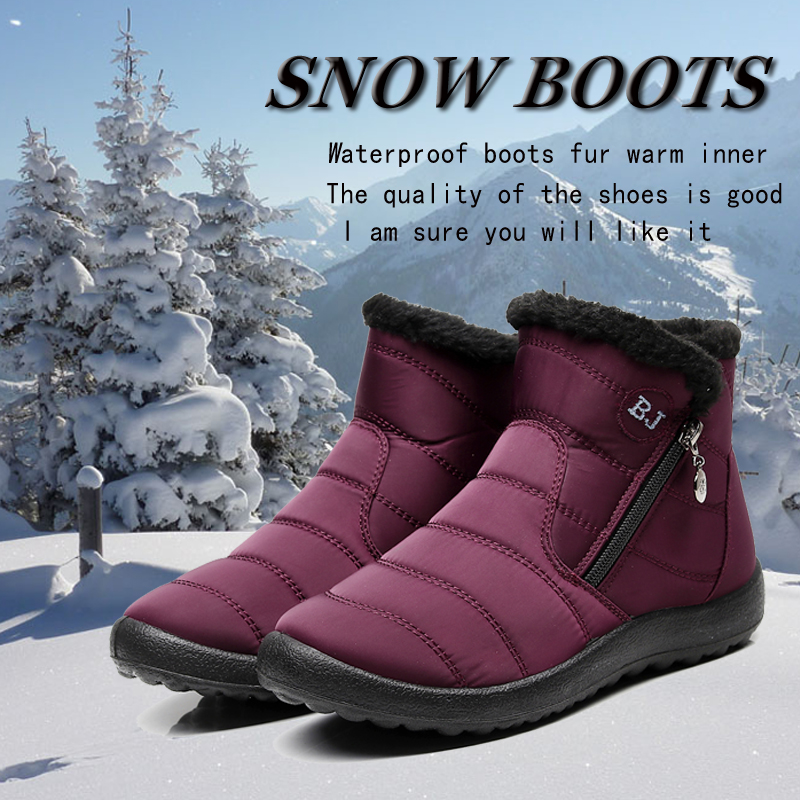 93c777ce34c2 Waterproof boots women snow boots high top winter fur warm ankle boots BJ  fashion non slip Shoes slip on zip boot big size 39 43-in Ankle Boots from  Shoes ...