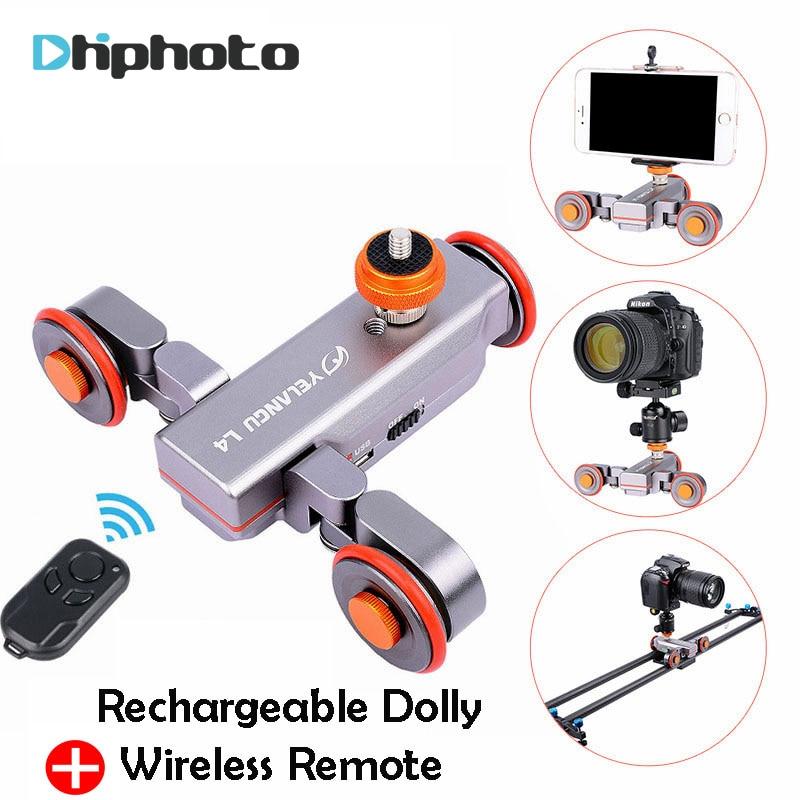 Yel DSLR motorizado eléctrico Autodolly Video polea patinadora deslizante w Control remoto para iPhone Canon cámara Vlogging