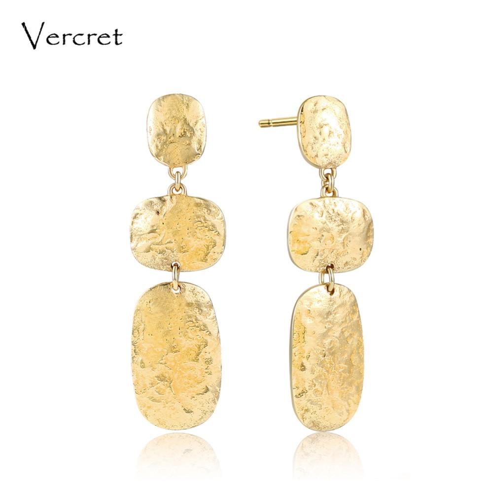 цена на Vercret 925 sterling silver hammered dangle earrings 18k gold simple design fine jewelry earring for women gifts sp presale