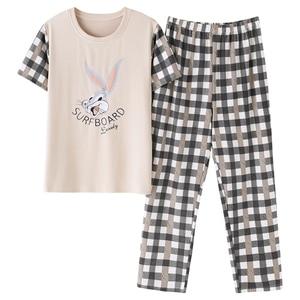 Image 5 - BZEL New Summer Cute Cartoon Pajamas Sets Women M 2XL Nightgown Comfortable Ladies Sleepwear Cotton Home Wear Leisure Cloth 2PCS