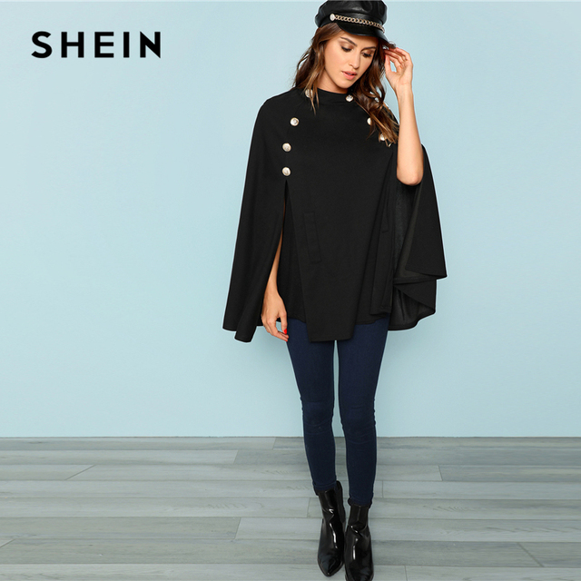 SHEIN Black Highstreet Office Lady Double Button Mock Poncho Solid Elegant Coat 2018 New Autumn Women Workwear Outerwear Clothes 4