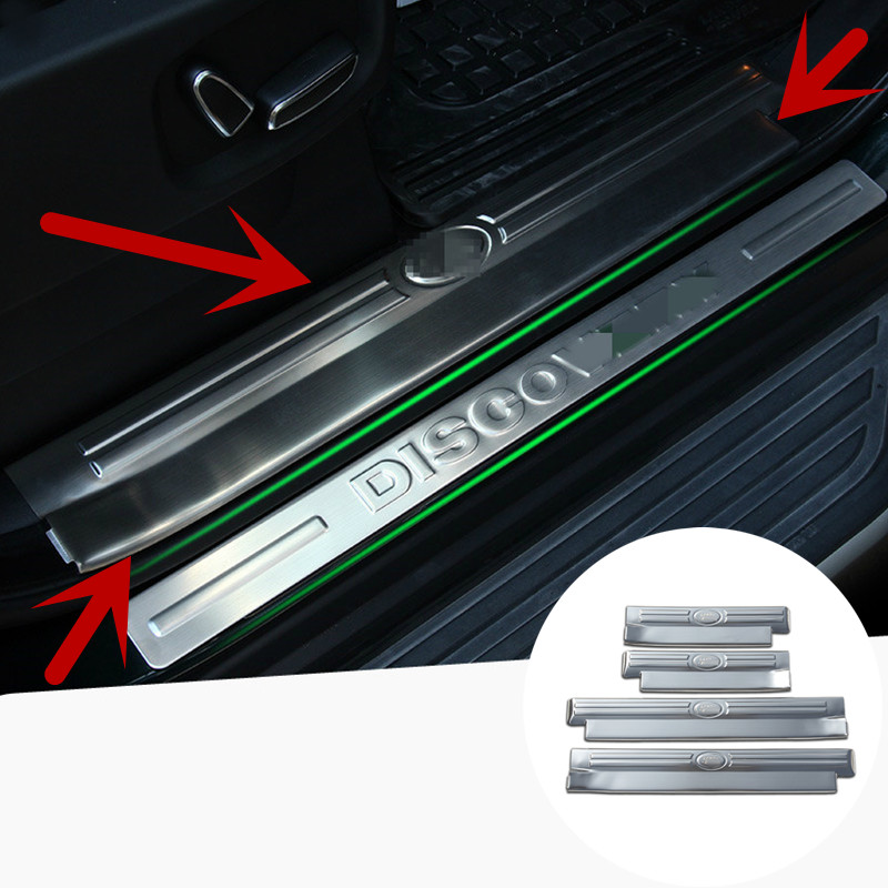 ФОТО For Land Rover LR4 Discovery 4 Stainless Inside Door Sill Scuff Plate 2010-2015 4PCS