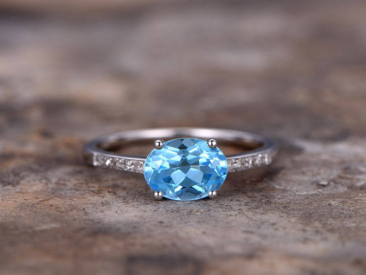 цена на 6x8mm Oval Cut Blue topaz wedding ring Engagement ring white gold plated 925 sterling silver stacking CZ Bridal wedding band