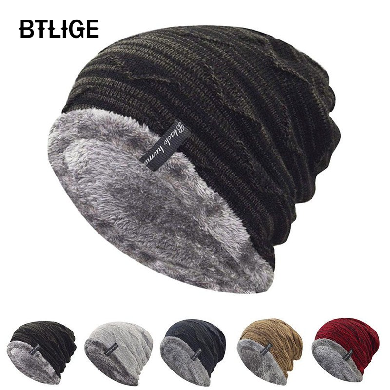 69b6570a08d BTLIGE Knitted Beanies Hat men winter hats Thicken women s Cotton Skullies  caps unisex casual solid female