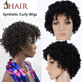 African American Short Hair Cut Styles Natural Afro Wigs Two Style Small & Big Short Curly Wig Grip Natural Black Loose Curl Wig