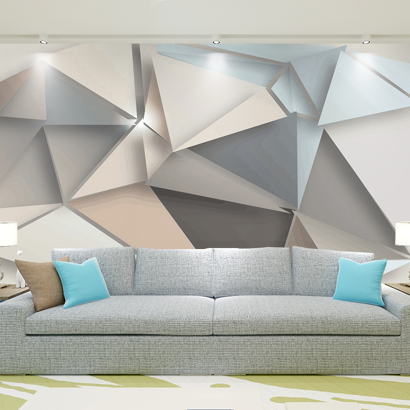 Geometrical 3d mural posters zone for Living room paper