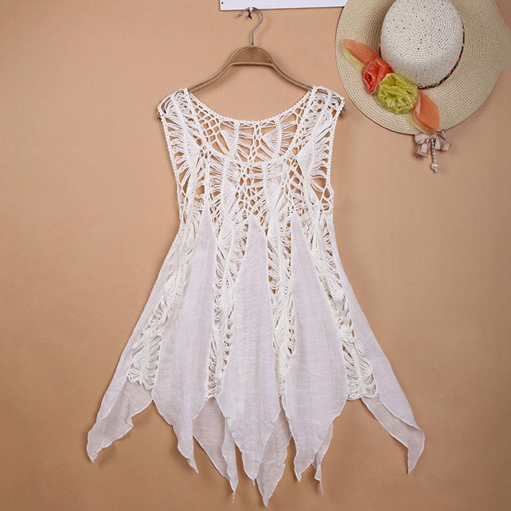 8357de0ee39b6 Detail Feedback Questions about Women White Summer Sexy Lace Hollow Knit Bikini  Swimwear Cover up Crochet Beach Mini Dress Tops Blouse Bathing Suit on ...