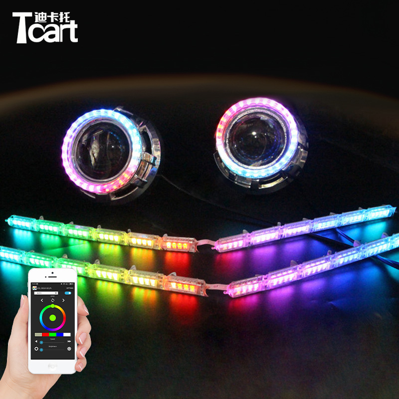Tcart Car Headlight APP Auto LED Bulbs RGB DRL Daytime Running Light Colorful Shine Angel Eye