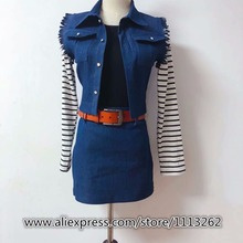 Women's Clothing Dragon Ball Android 18 Cosplay Costume deni