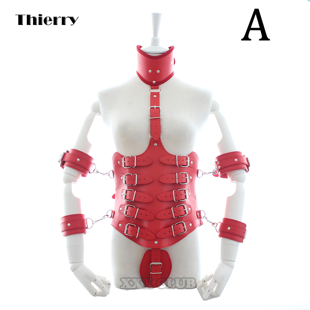 Thierry Lockdown Leather cincher corset, body bondage straitjacket with arm cuffs handcuffs neck collar, Harness sex game toys