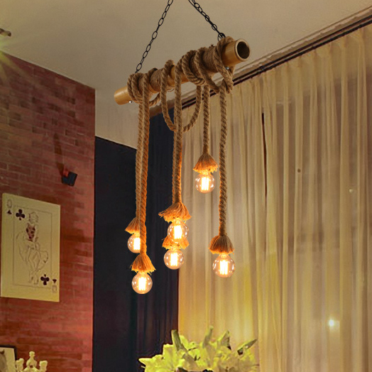 ᗚAmerican Vintage Bamboo Hanging Lamps Retro Wood Hemp Rope Pendant ...