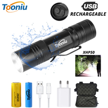 USB Rechargeable XHP50 LED Tactical Flashlight Powerful 3 Lighting Modes Zoomable Waterproof Torch Using 18650 or 26650 Battery цены
