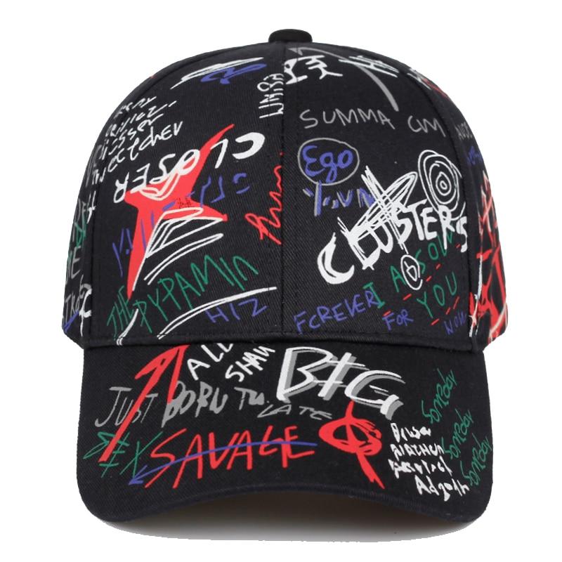 2019 New Letter Graffiti Printing Baseball Cap Men And Women Cotton Casual Sun Hat Hip Hop Fashion Outdoor Sun Caps Dad Hats