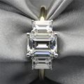 LASAMERO Emerald Cut 2CT ASCD Simulated Diamond 925 Sterling Silver 3 Stone Prong Set Plate Yellow Gold Engagement Wedding Ring