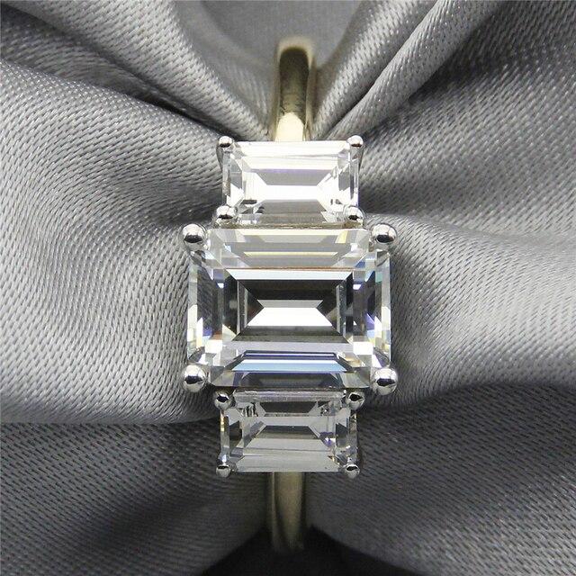 LASAMERO Emerald Cut 2CT ASCD Simulated Diamond 925 Sterling Silver 3 Stone Prong Set Plate Yellow Gold Engagement Wedding Ring