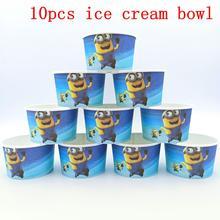 10PCS/LOT MINIONS ICE CREAM CUPS KIDS BIRTHDAY PARTY SUPPLIES MINIONS HAPPY BIRTHDAY PARTY ICE CREAM BOWLS WHOLE ICE CUPS цена
