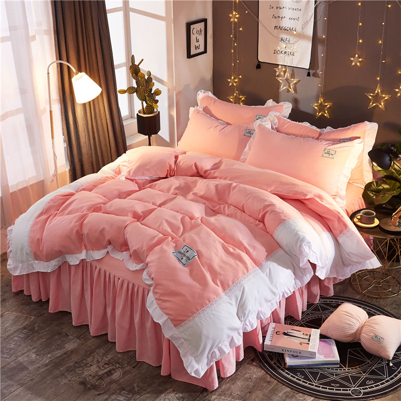 White pink Lace Princess Wedding Bedding sets High quality Home Textile Queen King size fashion Duvet cover Bed skirt PillowcaseWhite pink Lace Princess Wedding Bedding sets High quality Home Textile Queen King size fashion Duvet cover Bed skirt Pillowcase