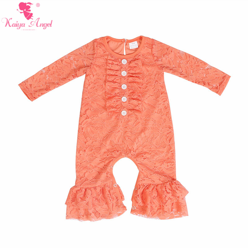 Image 2 - Kaiya Angel Newborn Girls Long Sleeve Peach Lace Romper Fashion  Kids Autumn Style Ruched Jumpsuit Factory Wholesale One PieceRompers