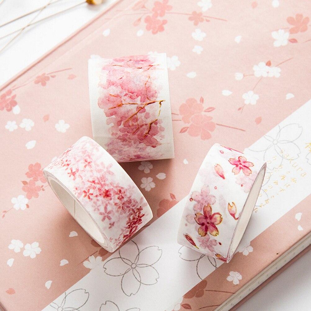 Lovely 1pc Watercolor Sakura Washi Tape Adhesive Tape Diy Scrapbooking Sticker Label Masking Craft Tape Tapes, Adhesives & Fasteners