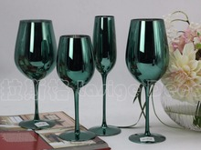 Creative green color plating metal glass with a of champagne wine cup wedding room decoration goblet