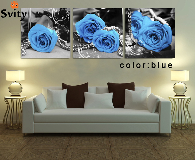3 Piece Mur De Toile Mur Peinture Rose Fleur Image Dessin Romantique