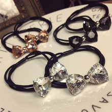 Korea Spring New Style Flower Rhinestone Hair Accessories Bows Elastic Bands Rubber Band Ring Headbands For G