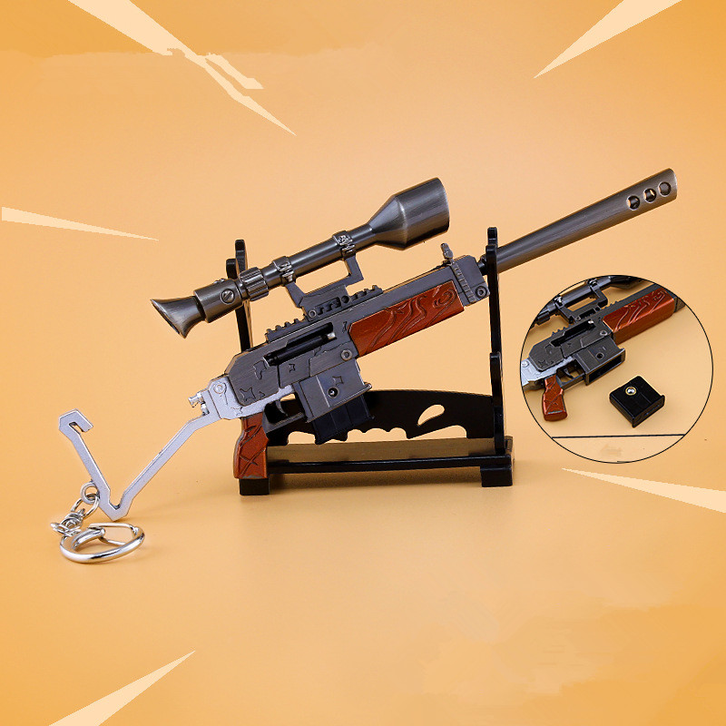 2018 Hot Game Fortnite Accessories Arms Rare Burst Assault Rifle Keychain Pendant Metal Alloy Toy Car Keyrings Holder