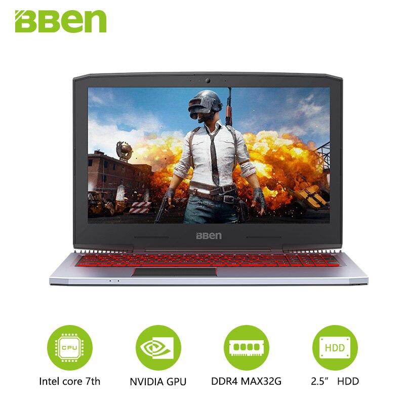 BBEN G16 15.6 GTX1060 Intel Core i7 7700HQ Gaming Laptops DDR4 8G/16G/32G RAM 256G/512G SSD,1TB/2TB HDD Pro Windows10 computers