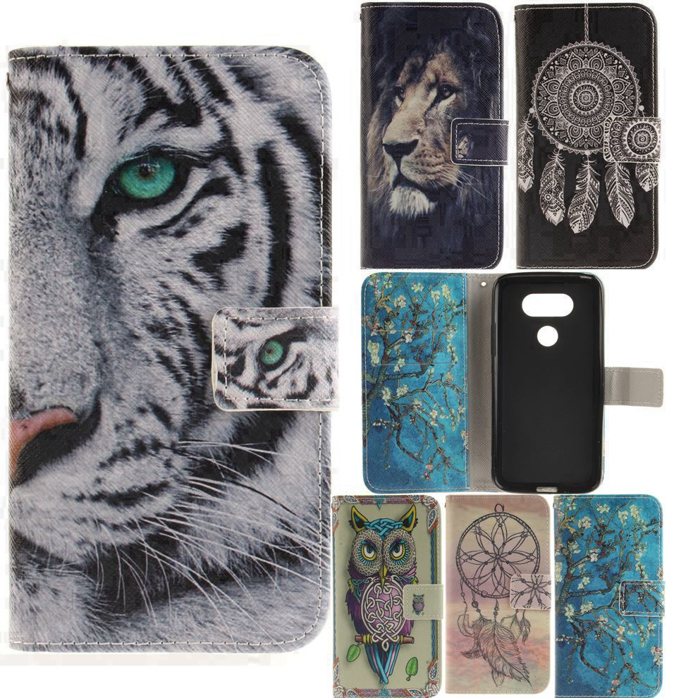 for LG K3 K4 K8 K10 2017 G6 X Power LV3/MS210 Flip Cases PU Leather Cover Wallet Case Stand Covers Owl Tiger Lion Girl Dandelion