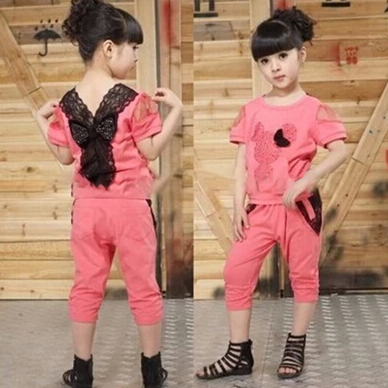 New 2017 Minnie Suit Baby Girl Clothes Set Girls Clothing Set Sport Suit Lace Summer T-Shirt + Pants Set 2016 new summer baby sport suit 100