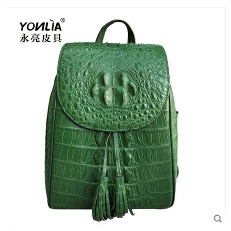 yongliang New lady old crocodile skull leather double shoulder bag fashion multi-color ladies women backpack the little old lady in saint tropez