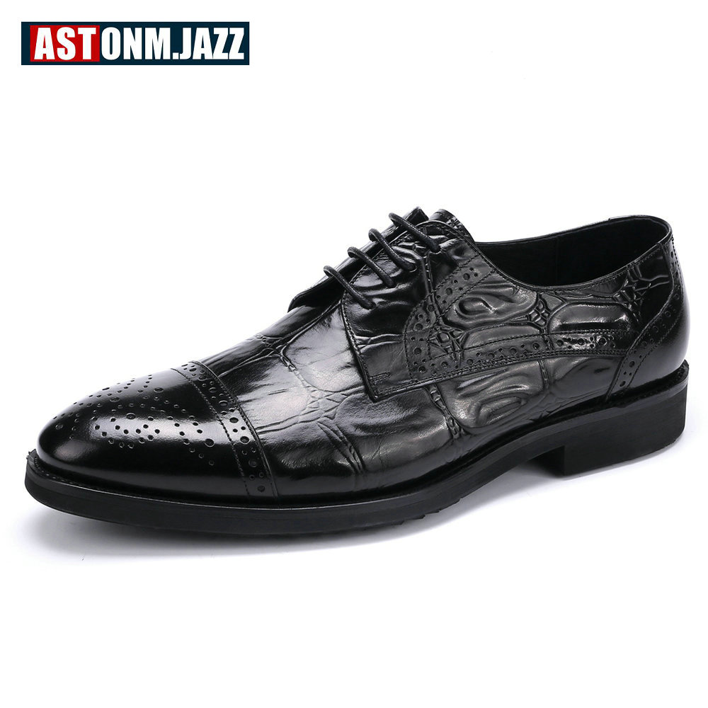 Men's Casual Genuine Leather Crocodile Oxfords Shoes Wedding Shoes For Mens Brogues Shoes Gentleman Business Shoes Flat Heel New men s casual genuine leather crocodile oxfords shoes wedding shoes for mens brogues shoes gentleman business shoe dress moccasin