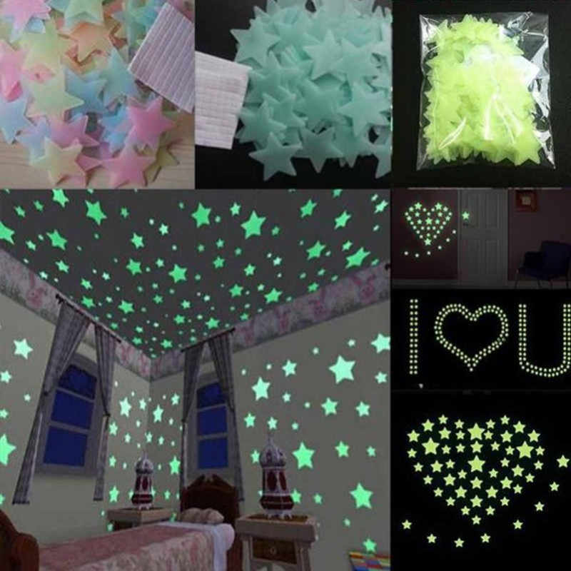 Kids/Baby Bedroom Fluorescent Glow In The Dark Stars Glow Wall Stickers Stars Luminous glow sticker Home Decor Decal hot sale