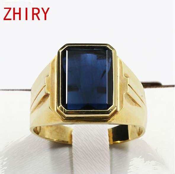 Anillo de los hombres 18 K oro Amarillo Verdadero 100% Zafiro natural piedra preciosa del aniversario de Boda Anillos de joyería Fina Real para los hombres