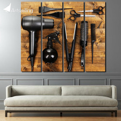 4 piece large canvas painting Hairdressing tools beauty shop wall decorations living room pop art canvas Free shipping/up-1370D
