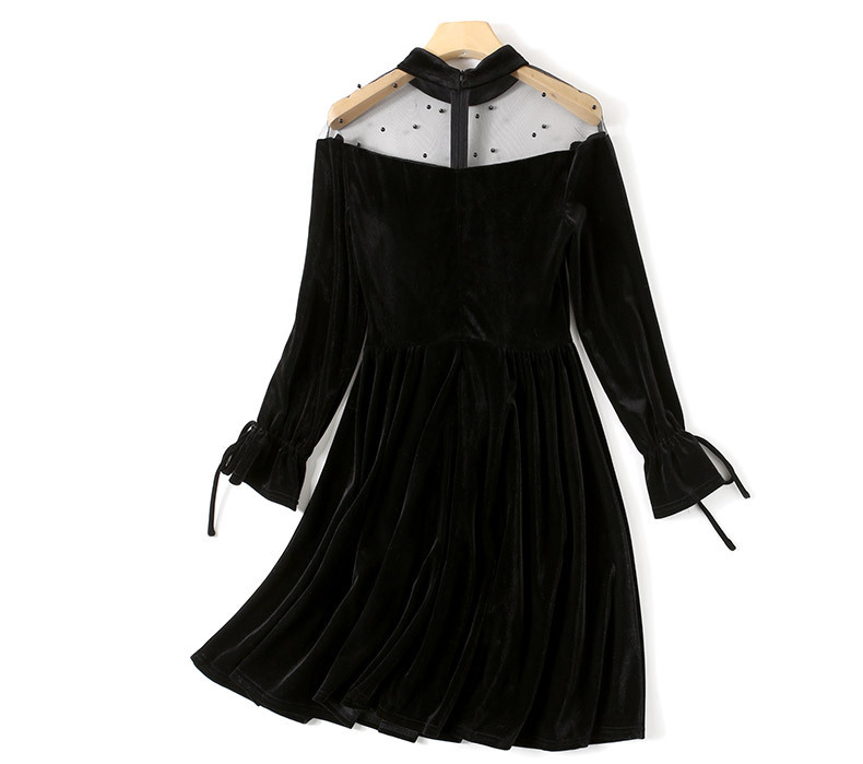 Black Lace O-neck A Line Dress