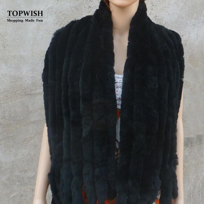 Réel Knit Rex De Fourrure De Lapin Écharpe Femmes Hiver Chaud Naturel pur de fourrure châle Livraison gratuite TFP574