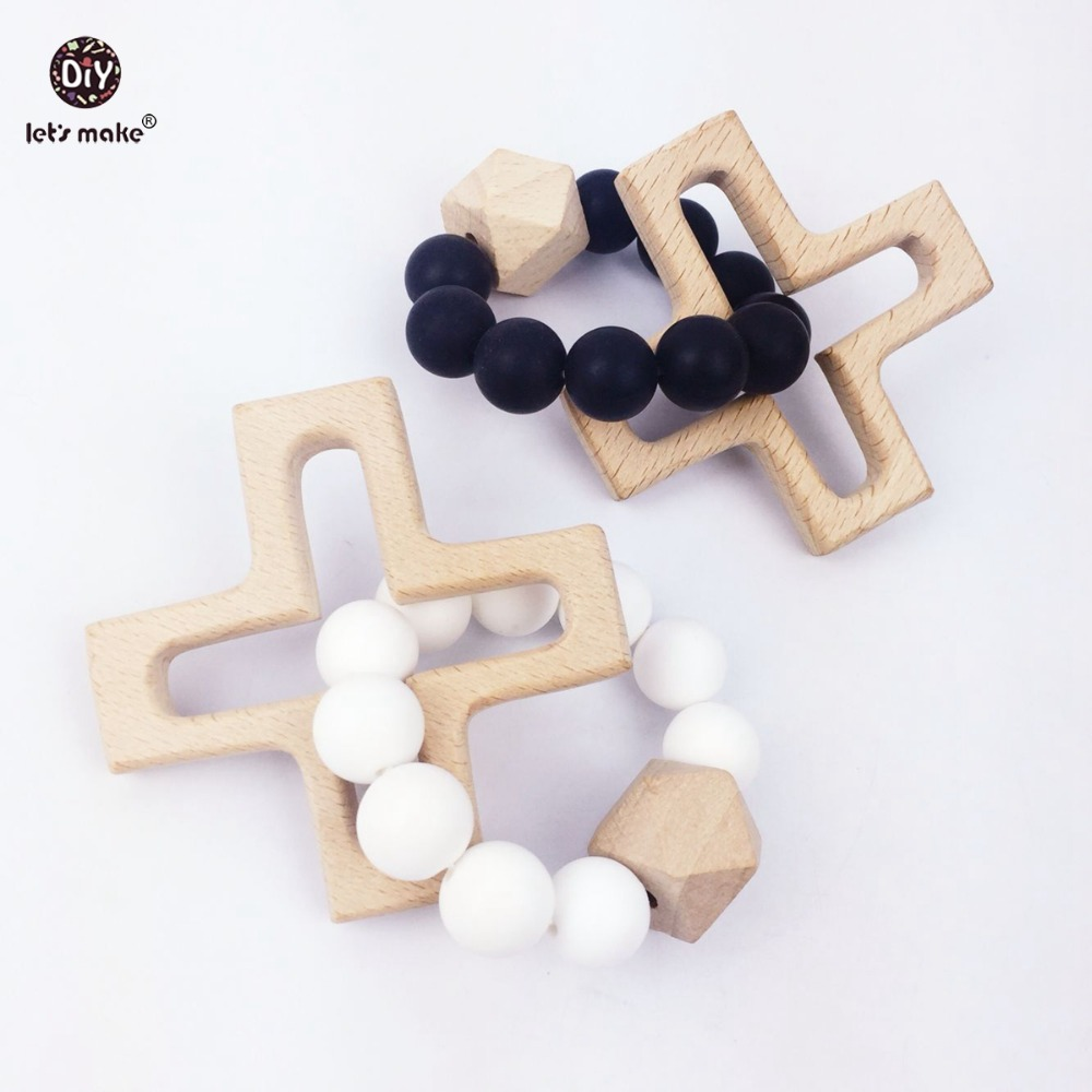 Let's Make Wooden Cross Bracelet 2PC Baby Safe And Eco-Friendly Beech Bracelet Diy Chew Rattle Sensory Shower Gifts Charm