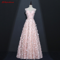 Cheap Pink Long Lace Evening Dresses Party A Line Beautiful Women Tulle Beaded Prom Formal Evening
