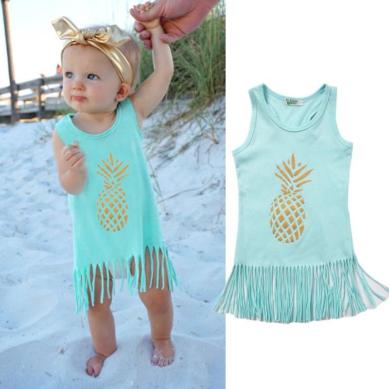 2017 New Fashion Baby Girls Dress Kids Girl Summer Sleeveless Pineapple Tassel Dresses Casual Little Girls Dress