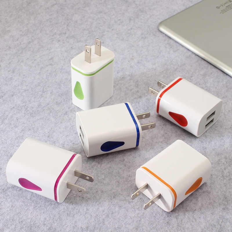 لفون الولايات التوصيل مصباح ليد 2 USB محول الهاتف المحمول جدار شاحن جهاز مايكرو بيانات كابل شحن لهواتف سامسونج اللوحي شاحن يو اس بي