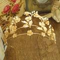 Vintage Baroque Gold Leaves Pearl Crystal Handmade Bridal Hair Accessories Hairpin Tiaras Crowns Wedding Hairband Hair Jewelry
